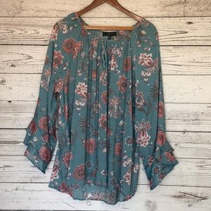 Fred David Blue Floral Peasant Blouse Size 3X